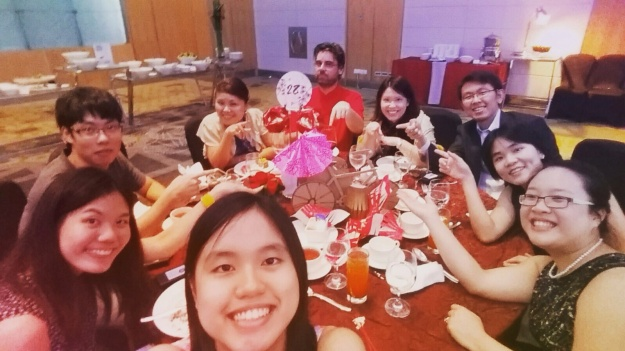 Puay Ling (in front) with the rest of the lab at the CSI Dinner and Dance
